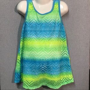 Neon Lace Girls Bathing Suit Coverup (Blue/Green)